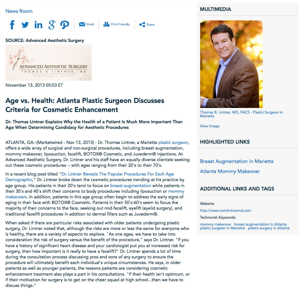 plastic surgeon, breast augmentation, mommy makeovers, Atlanta plastic surgery, Dr. Thomas Lintner